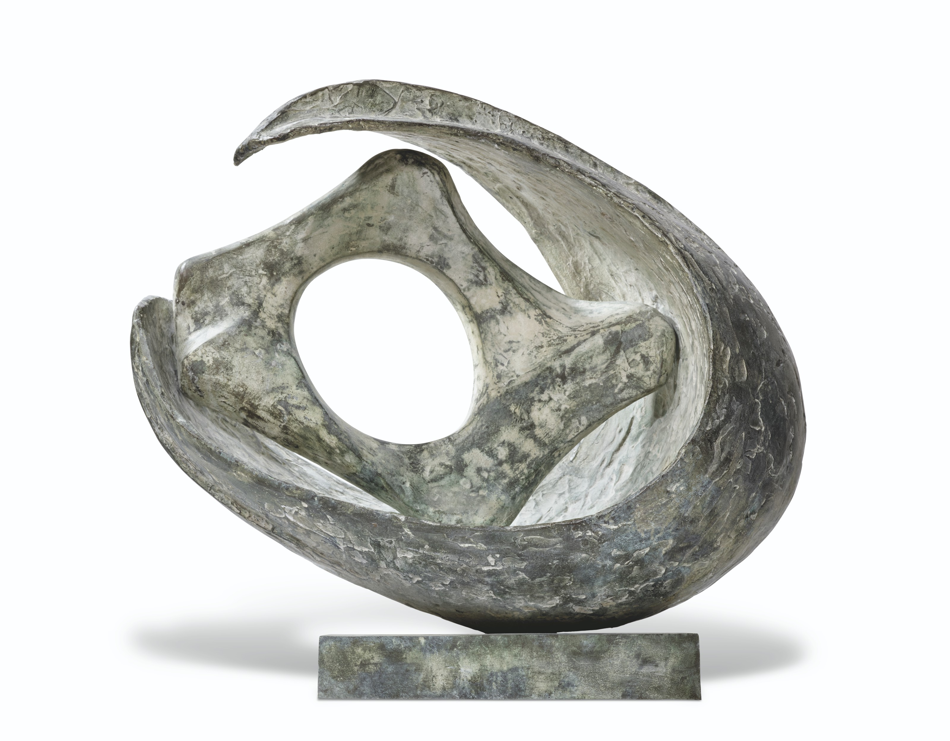 Dame Barbara Hepworth (1903-1975), Curved form with inner form (anima), 1959. Bronze with a green patina.28  in (71  cm) wide. Estimate £300,000-500,000. Offered inModern British and Irish Art Evening Saleon 20 October 2021 at Christie's in London