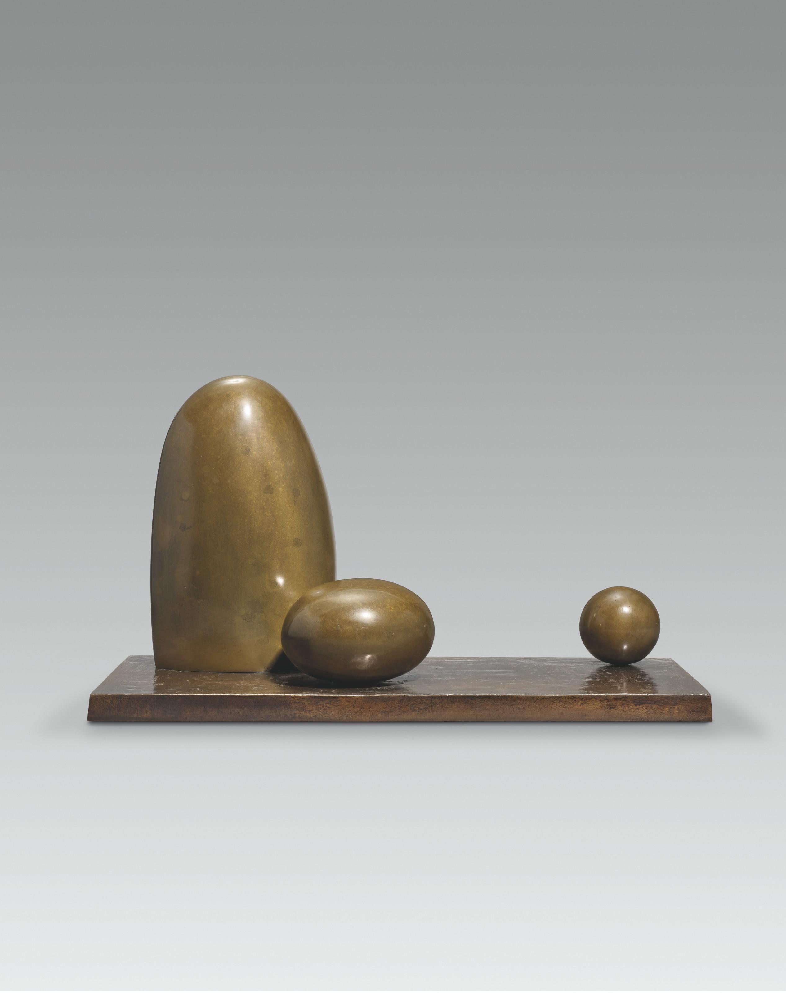 Dame Barbara Hepworth (1903-1975), Three forms, 1971. Bronze. 18½  in (47  cm) wide. Estimate £150,000-250,000.Offered inModern British and Irish Art Evening Saleon 20 October 2021 at Christie's in London