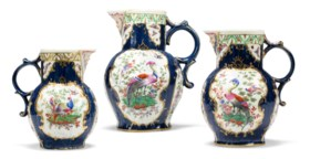 THREE WORCESTER PORCELAIN BLUE-SCALE-GROUND CABBAGE LEAF-MOU