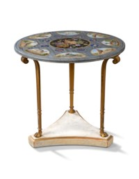 AN ITALIAN MICROMOSAIC AND MARBLE TABLE TOP ON AN ORMOLU AND WHITE-PAINTED BASE