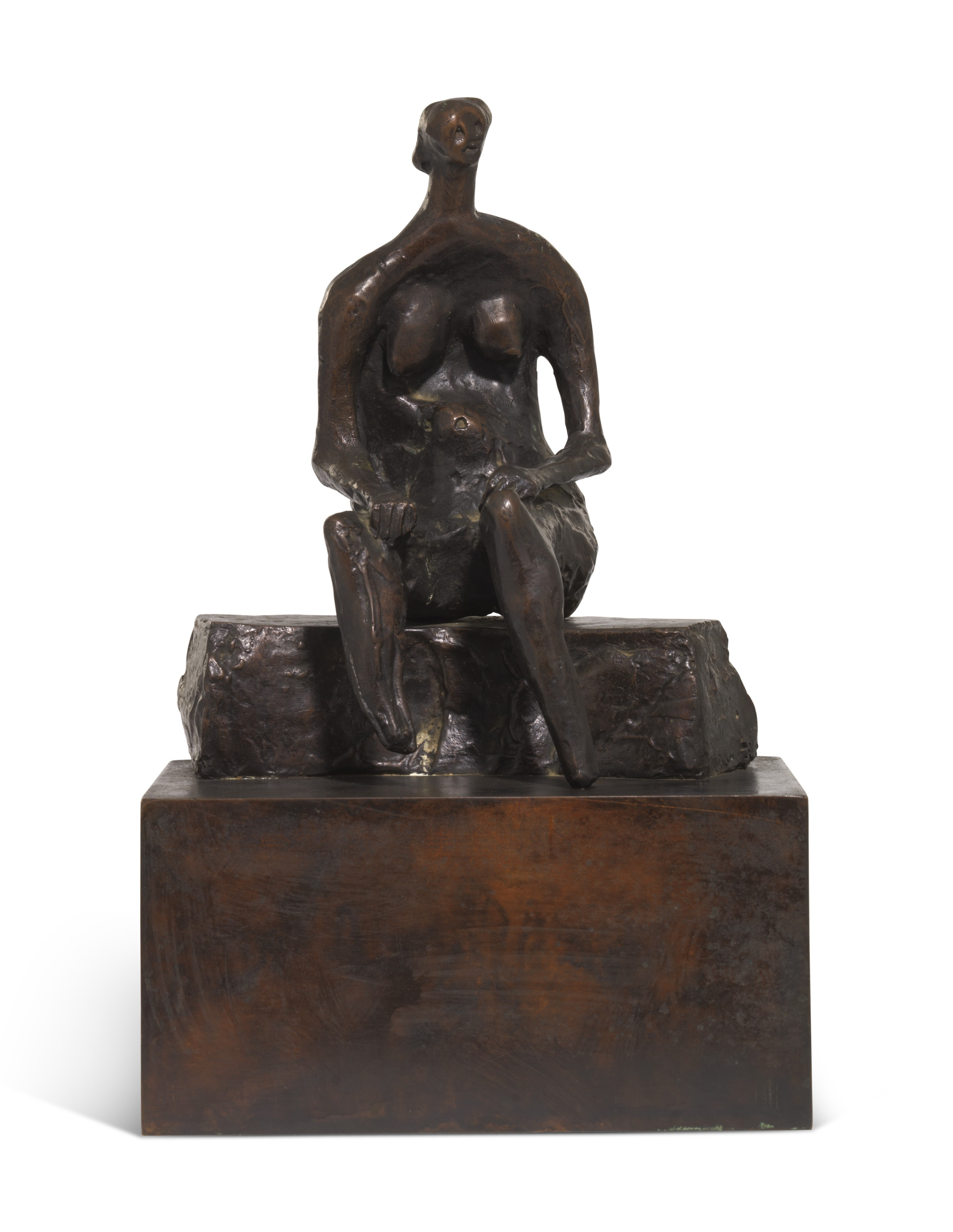 Henry Moore, O.M., C.H., (1898-1986), Seated Woman on Curved Block, 1957-64. 8⅛ in (20.5 cm) high, excluding bronze base. Estimate £60,000-80,000. Offered in Julians Park and Six Private Collections Live on 8 June 2021 at Christie's in London