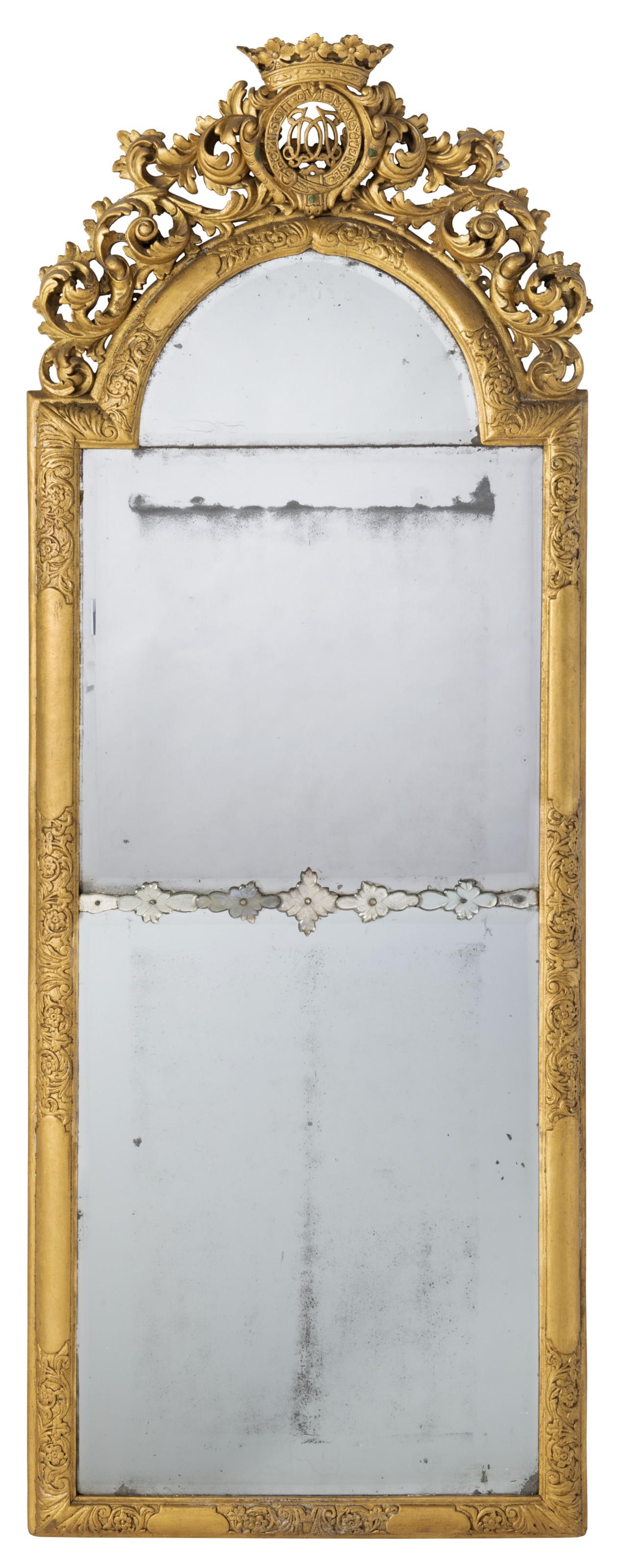 A PAIR OF QUEEN ANNE GILT-GESSO PIER GLASSES