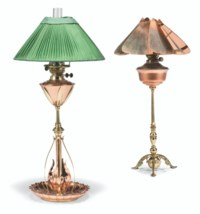 TWO BRASS AND COPPER TABLE LAMPS