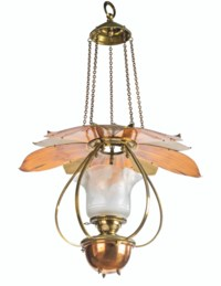 A BRASS AND COPPER HANGING OIL LAMP