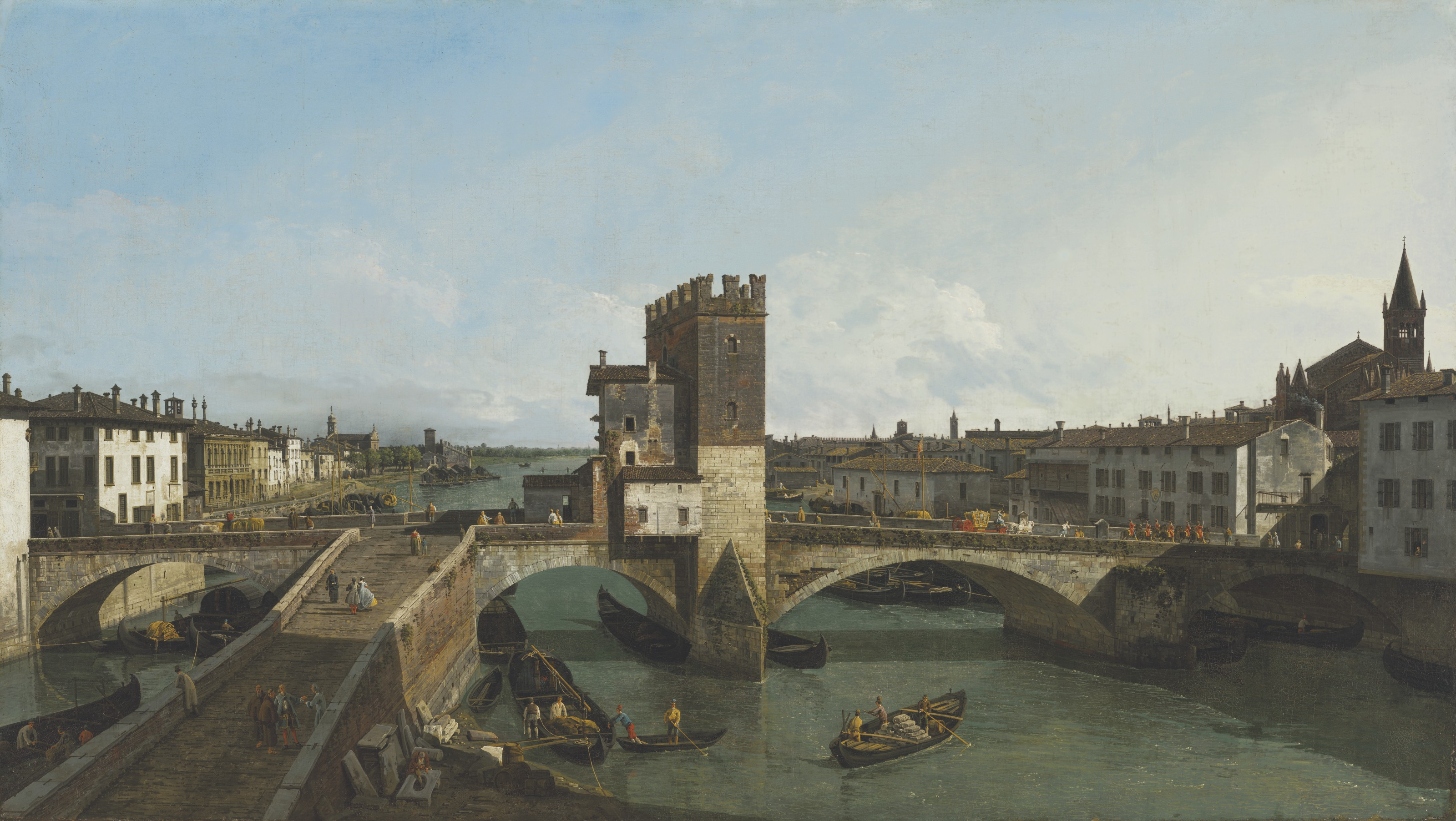 Bernardo Bellotto (1721-1780), View of Verona with the Ponte delle Navi, 1745-47. Oil on canvas, 52½ x 92½ in (133.3 x 234.8 cm). Estimate £12,000,000-18,000,000. Offered in the Old Masters Evening Sale on 8 July 2021 at Christie's in London
