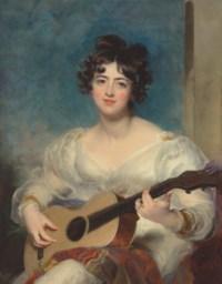 Portrait of Elizabeth Blake, Lady Wallscourt (1805-1877), three-quarter-length, playing a guitar