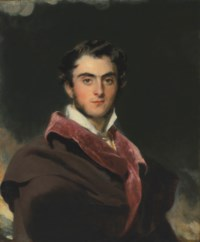 Portrait of Richard Meade, 3rd Earl of Clanwilliam (1795-1879), half-length, in a black cloak with red collar