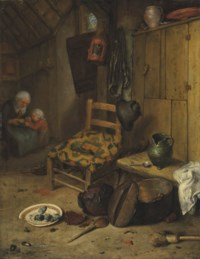 A kitchen interior with a mother and child