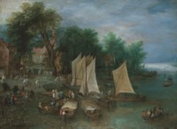 A landing stage near a village with shipping and figures
