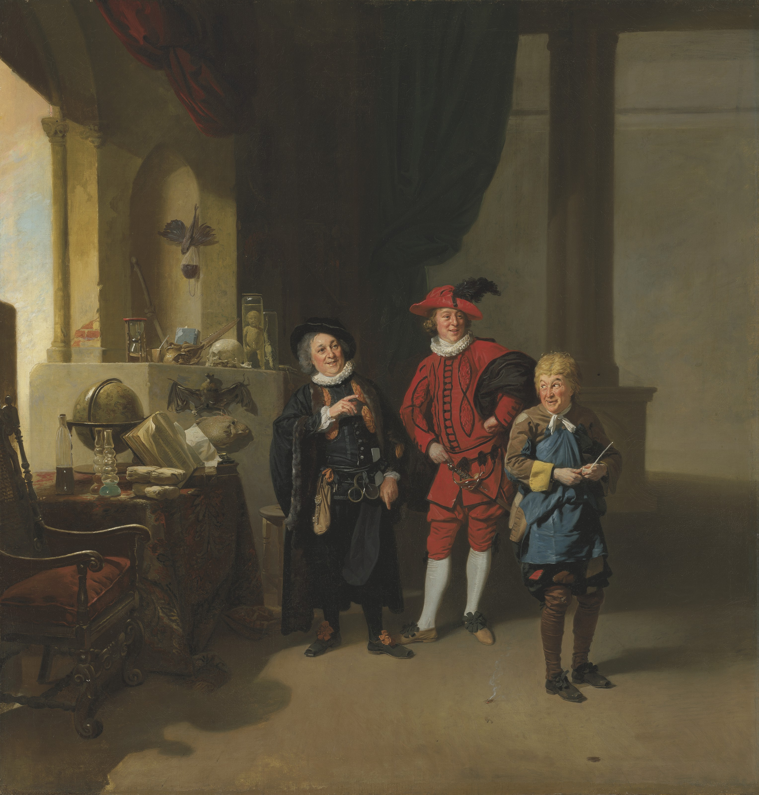 Johann Zoffany, R.A. (Frankfurt 1733-1810 London), Garrick with Burton and Palmer in The Alchymist. Oil on canvas. 41⅞ x 40⅛ in (106.5 x 101.9 cm). Estimate £1,000,000-1,500,000. Offered in Old Masters Evening Sale on 8 July 2021 at Christie's in London
