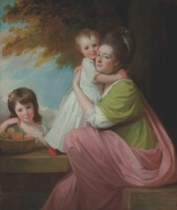 Group portrait of Dorothy Stables (1753-1832), with her daughters, Harriet (1774-1827) and Maria (1775-1821), in a wooded landscape