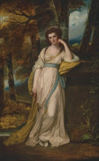 Portrait of Mrs Deborah Jemima Maxwell (1755-1789), full-length, in a pale pink dress with a blue sash and a yellow wrap, in a wooded landscape