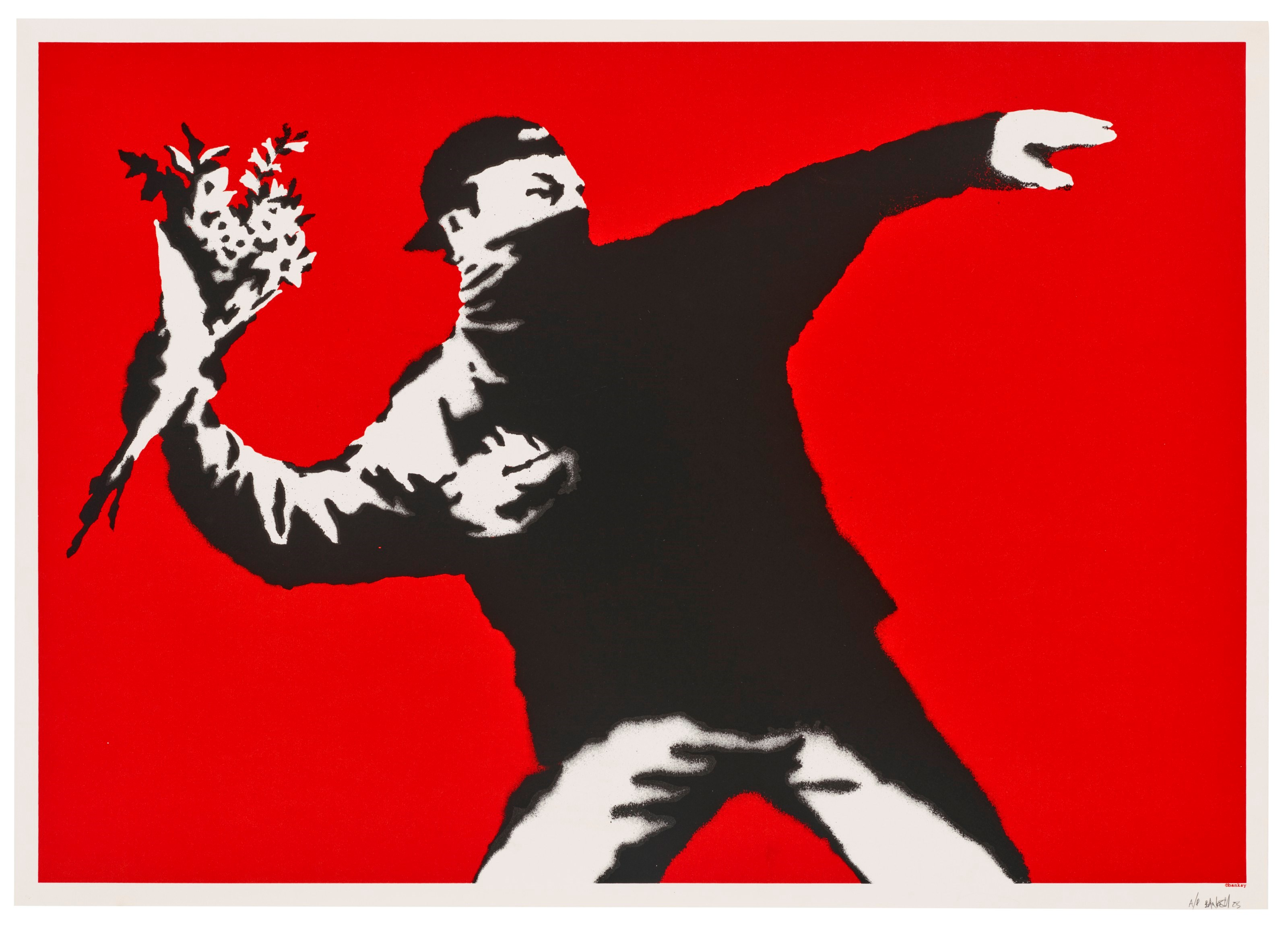 Banksy, Love Is in the Air, 2003. Screenprint in colours. Sheet 495 x 696  mm. Estimate £200,000-300,000. Offered inBanksy I can't believe you morons actually buy this sht, 9-23 September 2021, Online