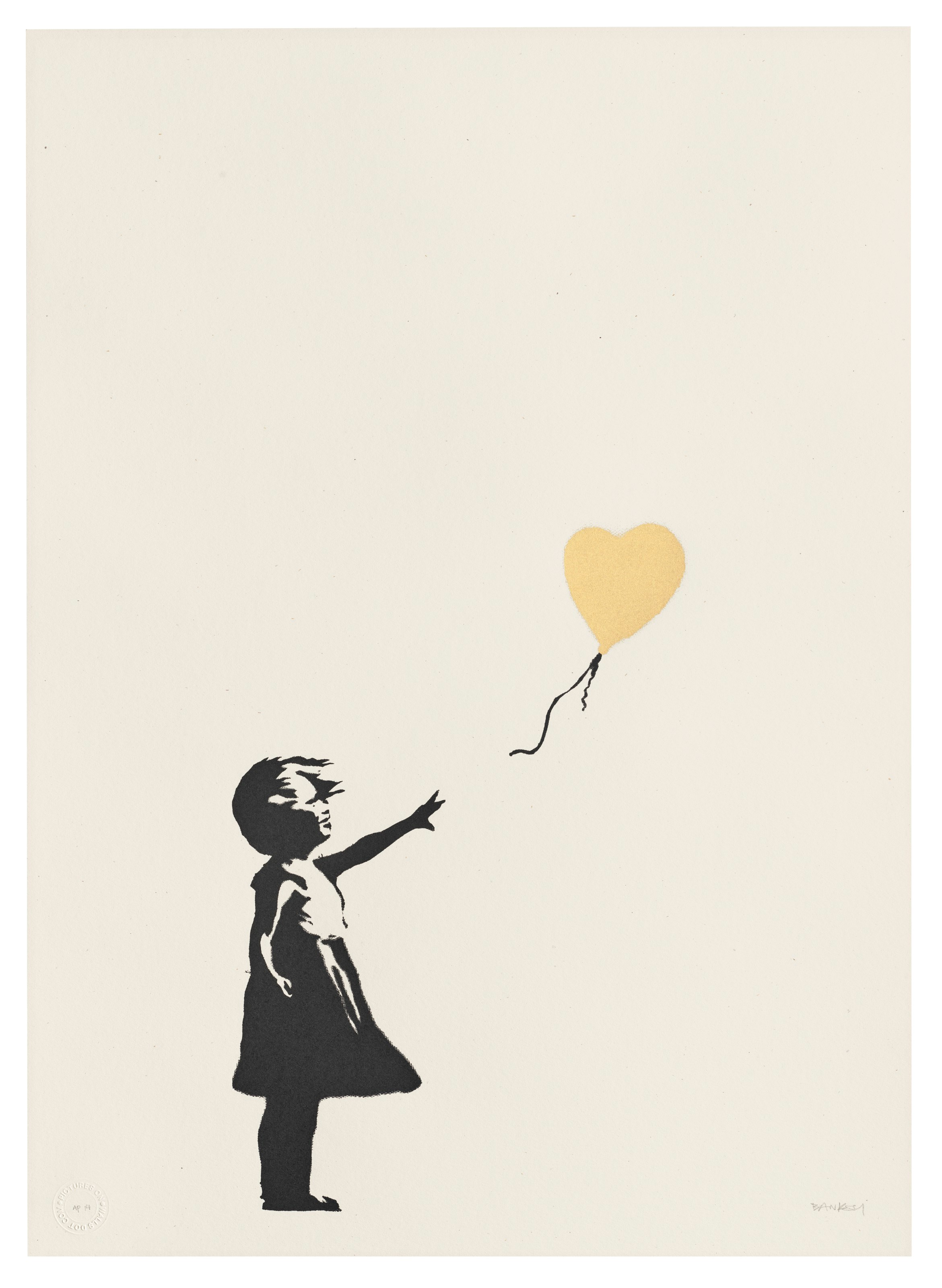 Banksy, Girl with Balloon — Colour AP (Gold), 2004. Screenprint in black and gold. Sheet 695 x 498  mm. Estimate £800,000-1,200,000. Offered inBanksy I can't believe you morons actually buy this sht, 9-23 September 2021, Online