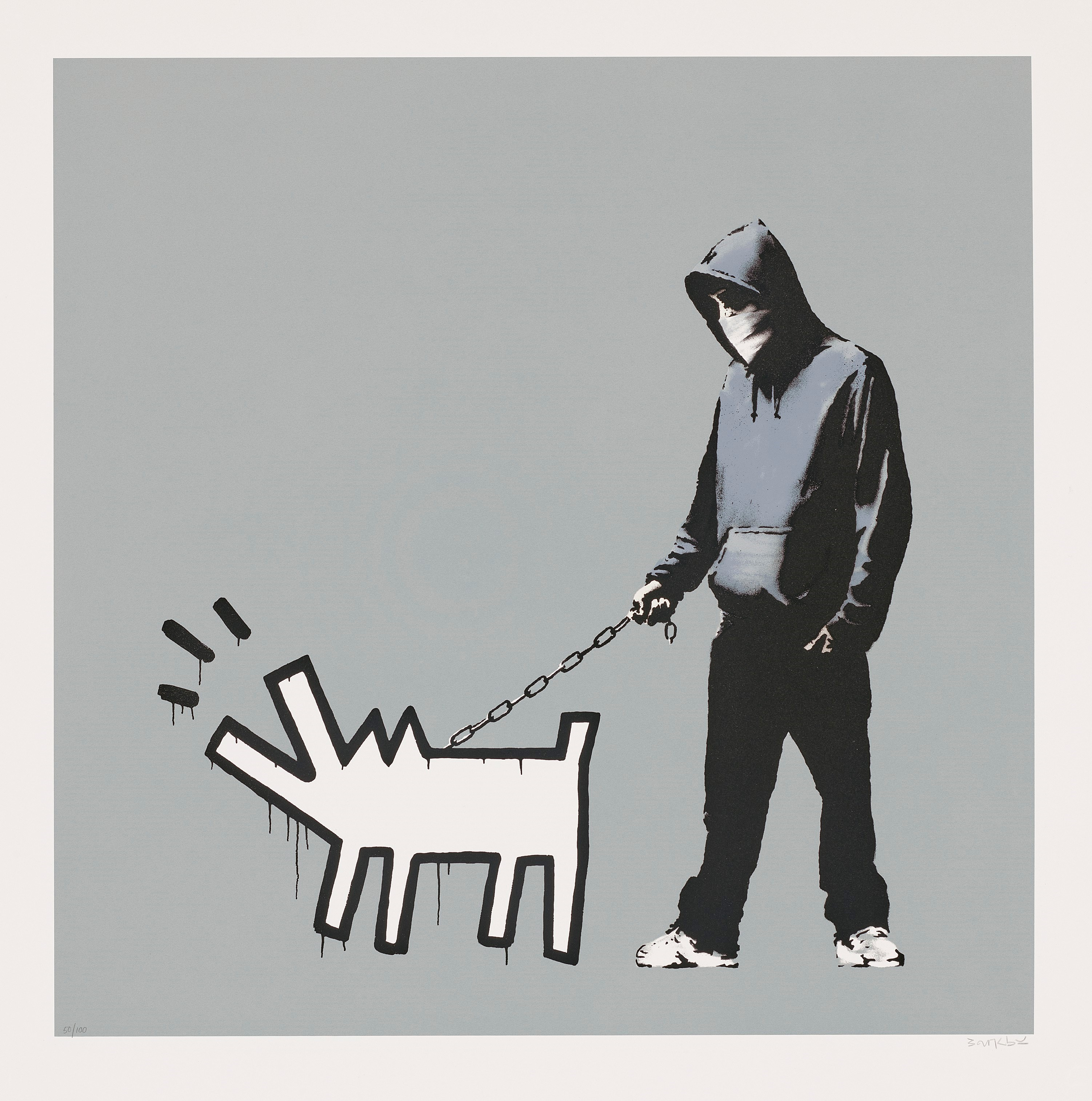 Banksy, Choose Your Weapon (Grey), 2010. Screenprint in colours. Sheet 700 x 700  mm. Estimate £100,000-150,000. Offered inBanksy I can't believe you morons actually buy this sht, 9-23 September 2021, Online