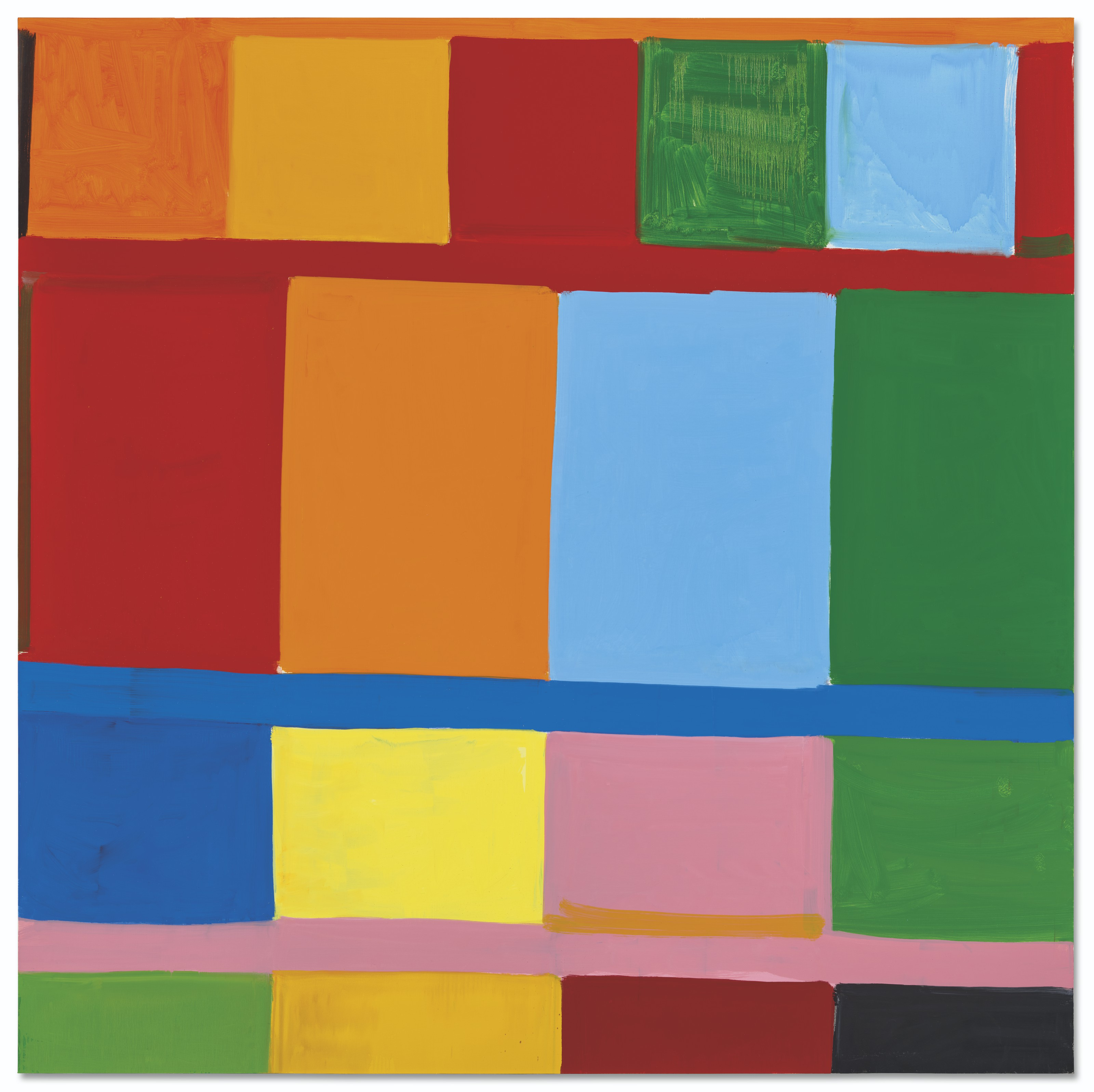 Stanley Whitney (b. 1946), Light a New Wilderness, 2016. Oil on linen. 96 x 96 in (243.8 x 244 cm). Sold for £525,000 on 30 June 2021 at Christie's in London
