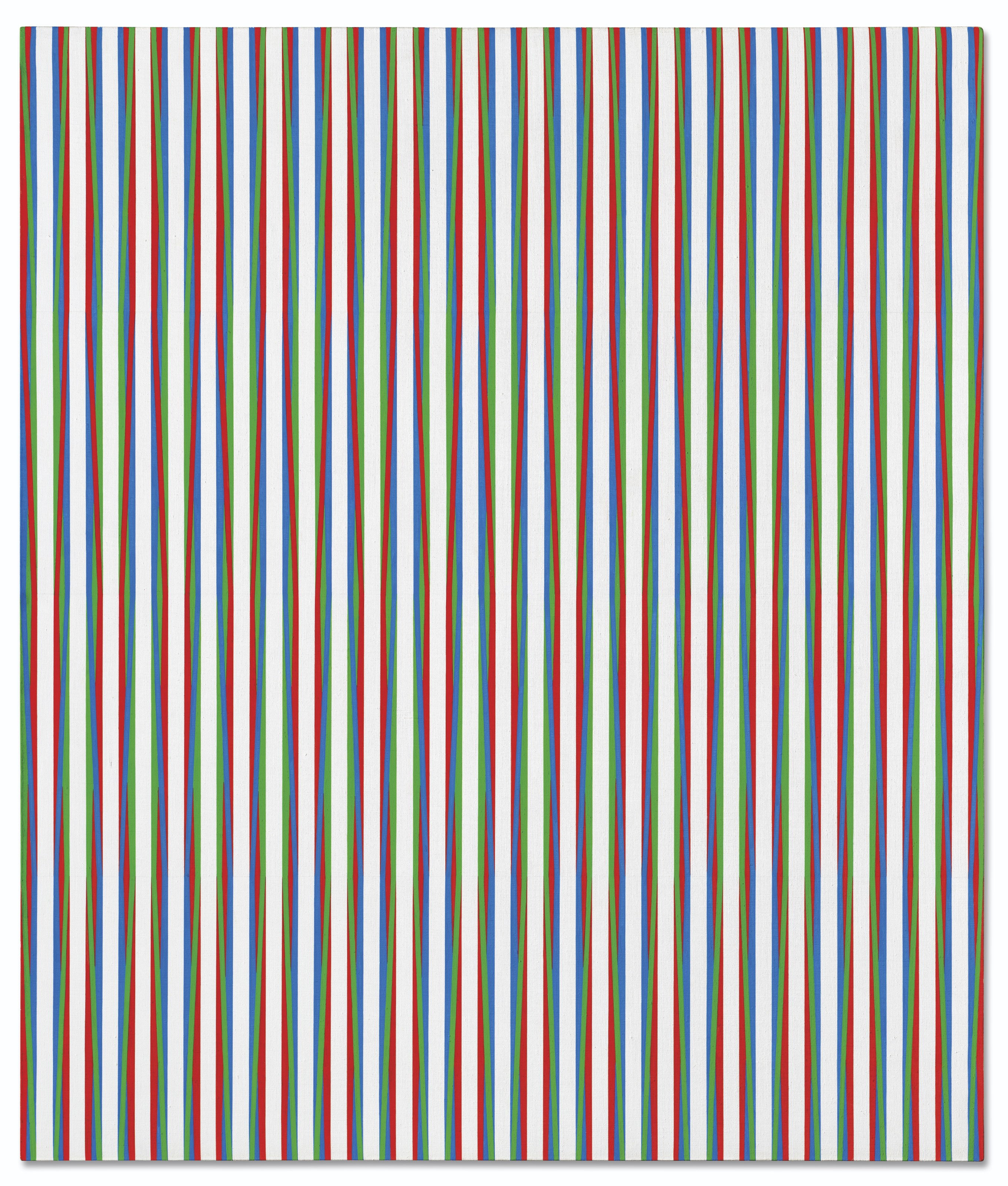 Bridget Riley (b. 1931), Zing 2, 1971. Acrylic emulsion on canvas. 54⅛ x 44¼ in (132.2 x 112.2 cm). Sold for £3,262,500 on 30 June 2021 at Christie's in London