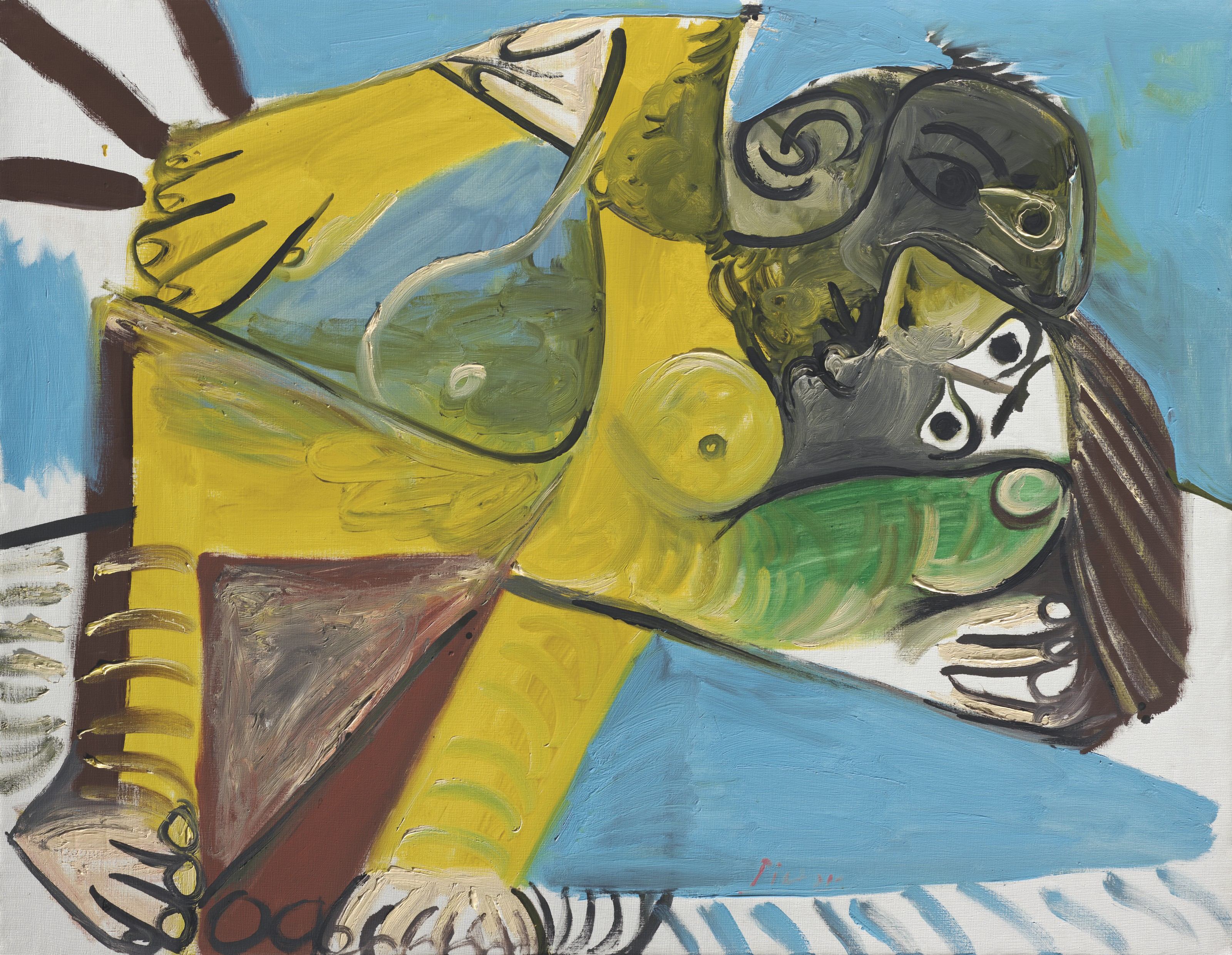 Pablo Picasso (1881-1973), Létreinte, 1969. Oil on canvas. 44¾ x 57½ in (113.6 x 146 cm). Sold for £14,697,000 on 30 June 2021 at Christie's in London