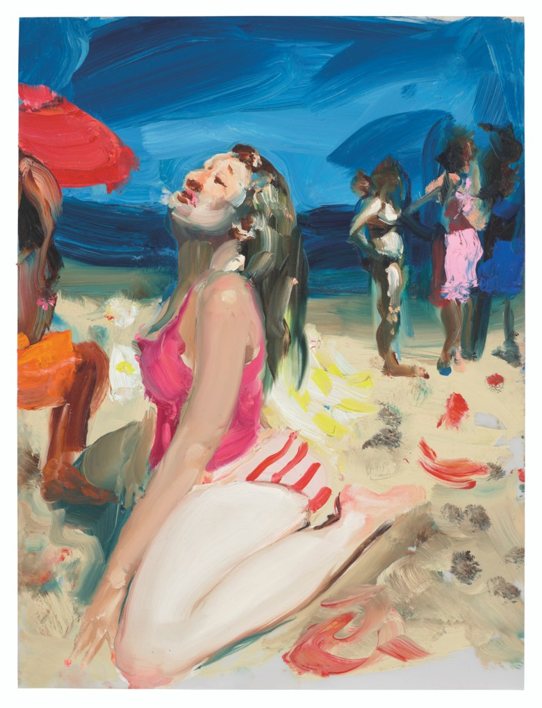 Jenna Gribbon (b. 1978), Beach Glory, 2020. Oil on vellum. 12 x 9 in (30.5 x 22.9 cm). Estimate £4,000-6,000. Offered in the Post-War and Contemporary Art Day Saleon 2 July 2021 at Christie's in London. This work has been donated by the artist; the proceeds of its sale will go to amfAR, the foundation for AIDS research