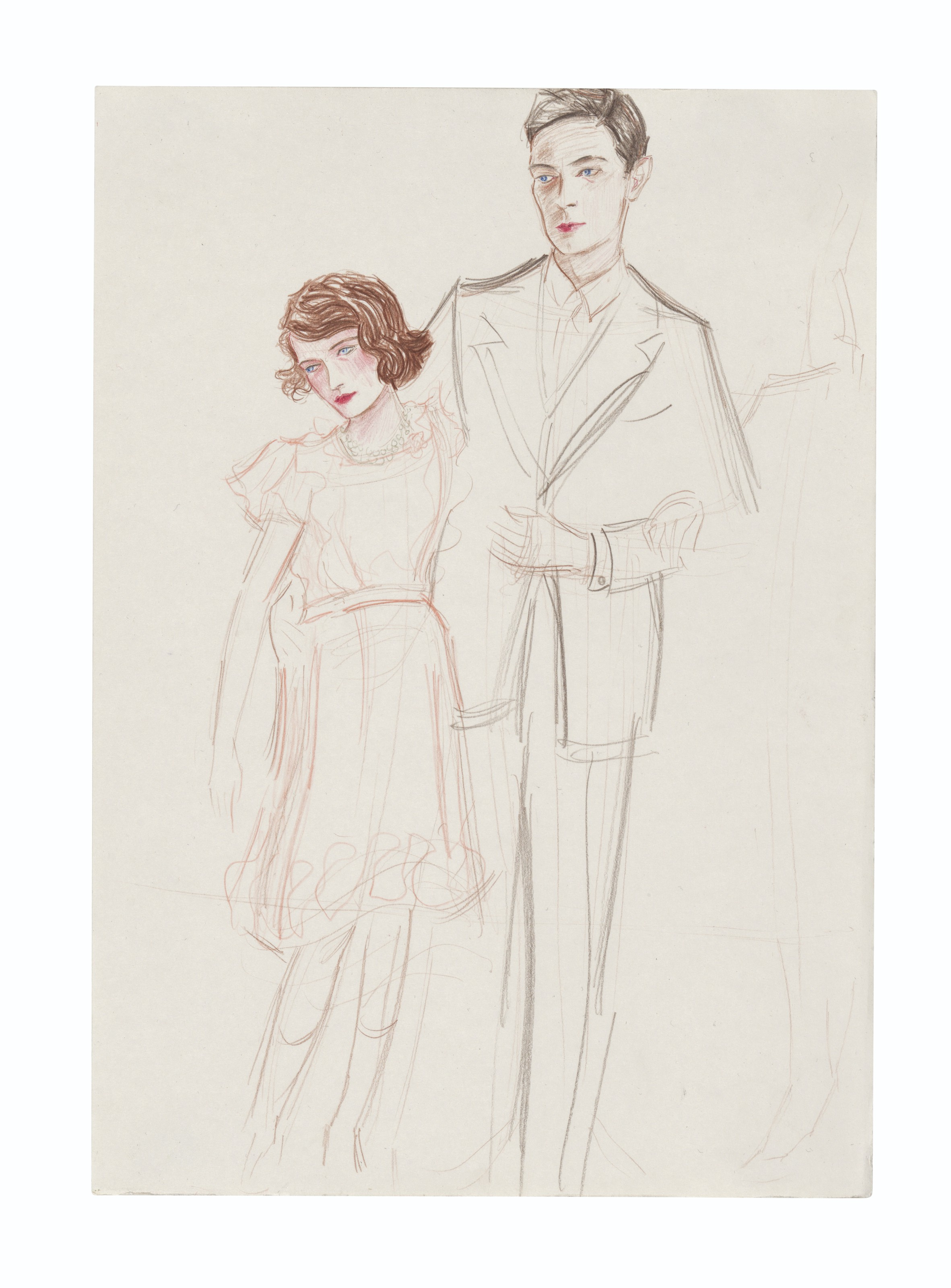 Elizabeth Peyton (b. 1965), Princess Elizabeth and Her Father, 2000.Coloured pencil on paper. Executed in 2000. 11¾ x 8¼ in (30 x 21.1 cm). Estimate £40,000-60,000. Offered in the 20th21st Century London Day Saleon 2 July 2021 at Christie's in London