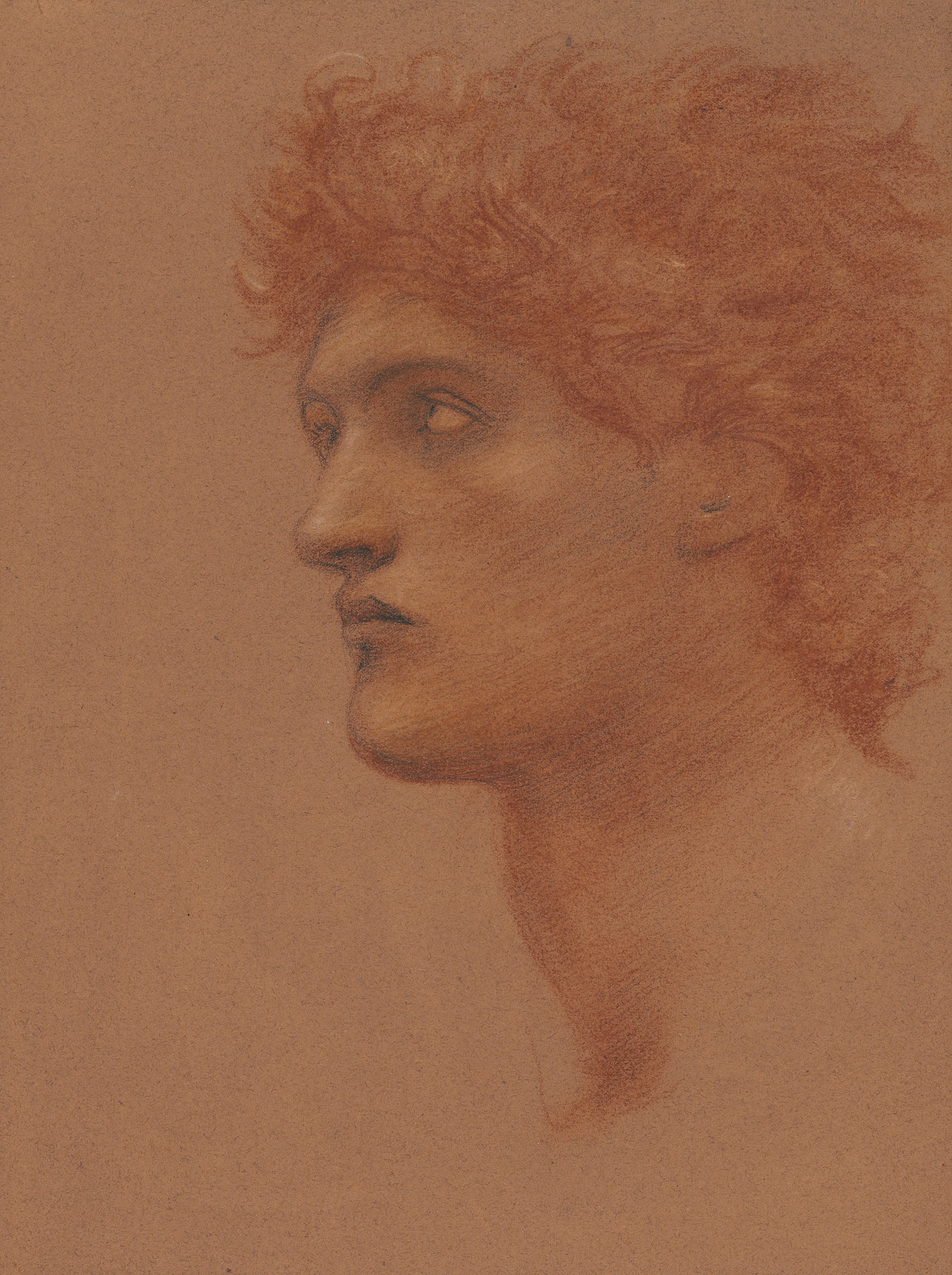 Sir Edward Coley Burne-Jones (1833-1898), Study of a male head in profile, for Perseus in The Call of Perseus. Sanguine, black and white chalk on terracotta paper. 15⅝ x 12¼ in (39.7 x 31 cm). Estimate £15,000-20,000. Offered inBritish and European Arton 15 July 2021 at Christie's in London