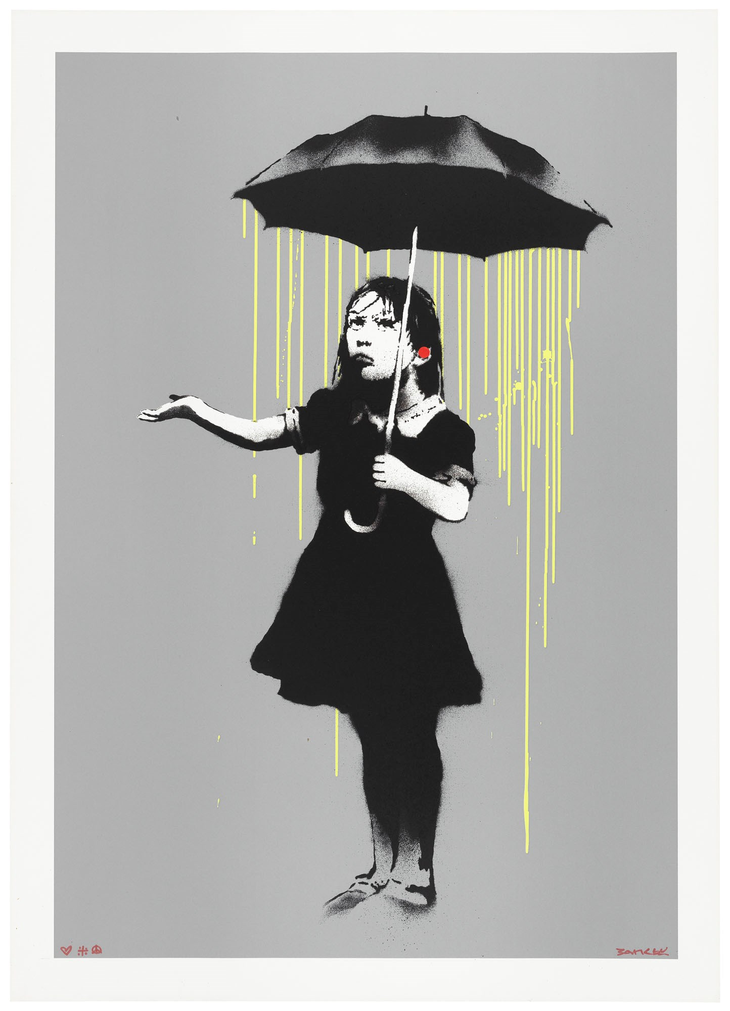 Banksy, NOLA (Yellow Rain) — Outside of the Edition, 2008. Screenprint in colours with a hand-applied red sticker. Sheet 700 x 500  mm. Sold for £375,000 on 1 April 2021 at Christie's Online