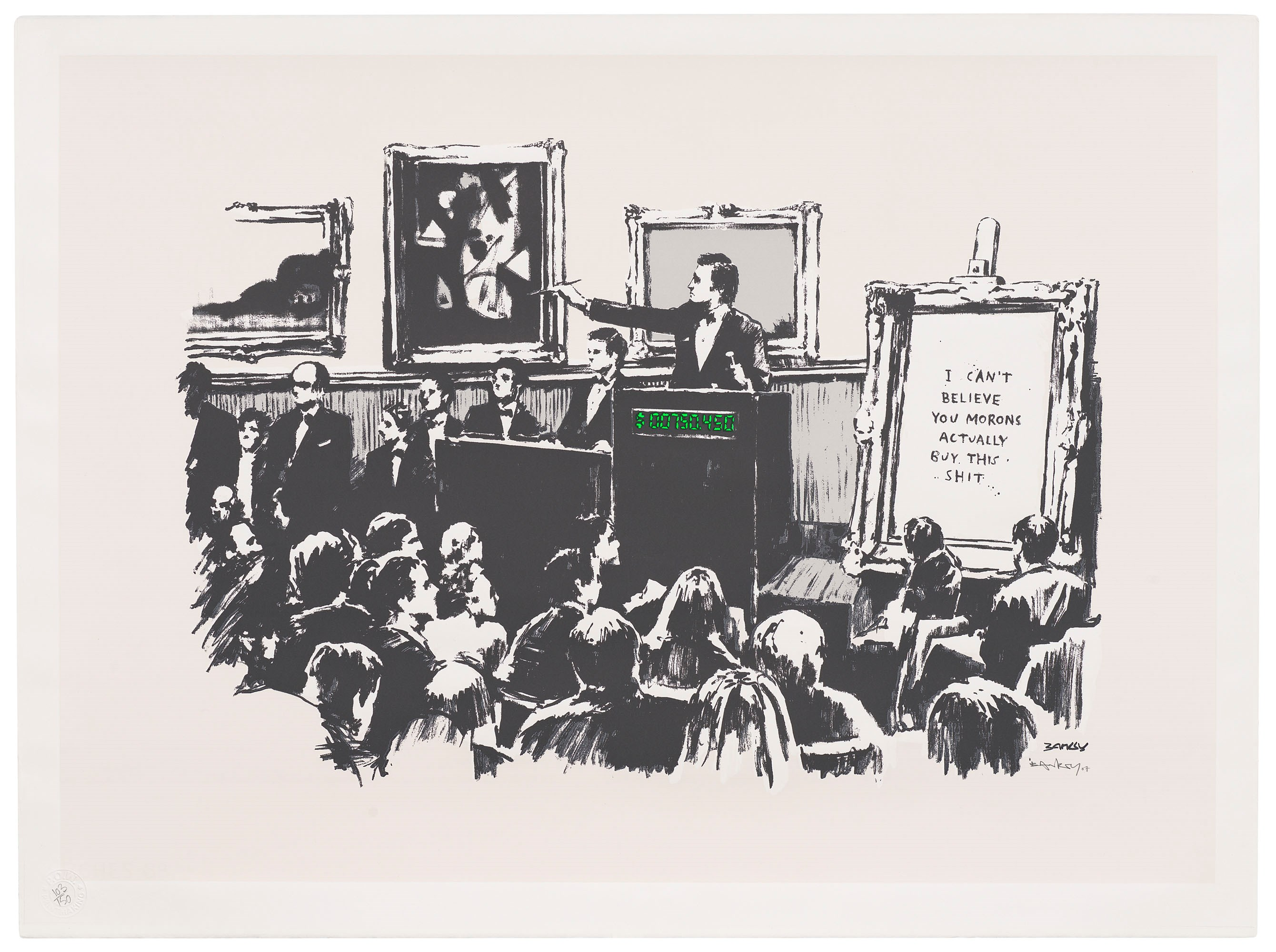Banksy, Morons (White), 2007. Screenprint in colours. Sheet 570 x 765  mm. Sold for £75,000 on 1 April 2021 at Christie's Online