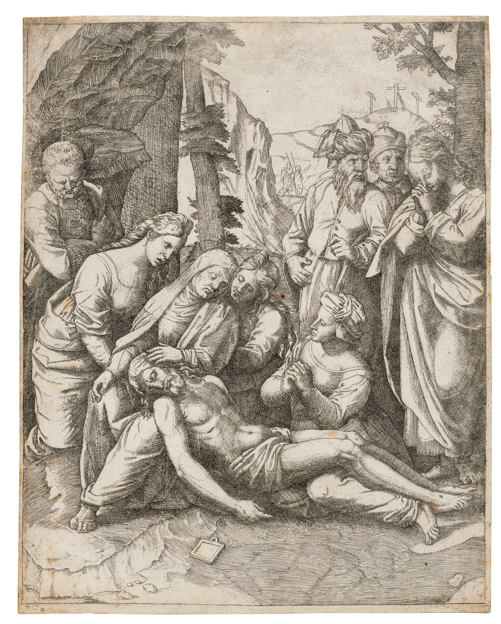 Marcantonio Raimondi (1480-1534) after Raphael (1483-1520), The Lamentation over the Body of Christ, circa 1515-16. Engraving on laid paper. Sheet 218 x 172 mm. Sold for £1,375 inOld Master Prints, 19-28 January 2021, Online
