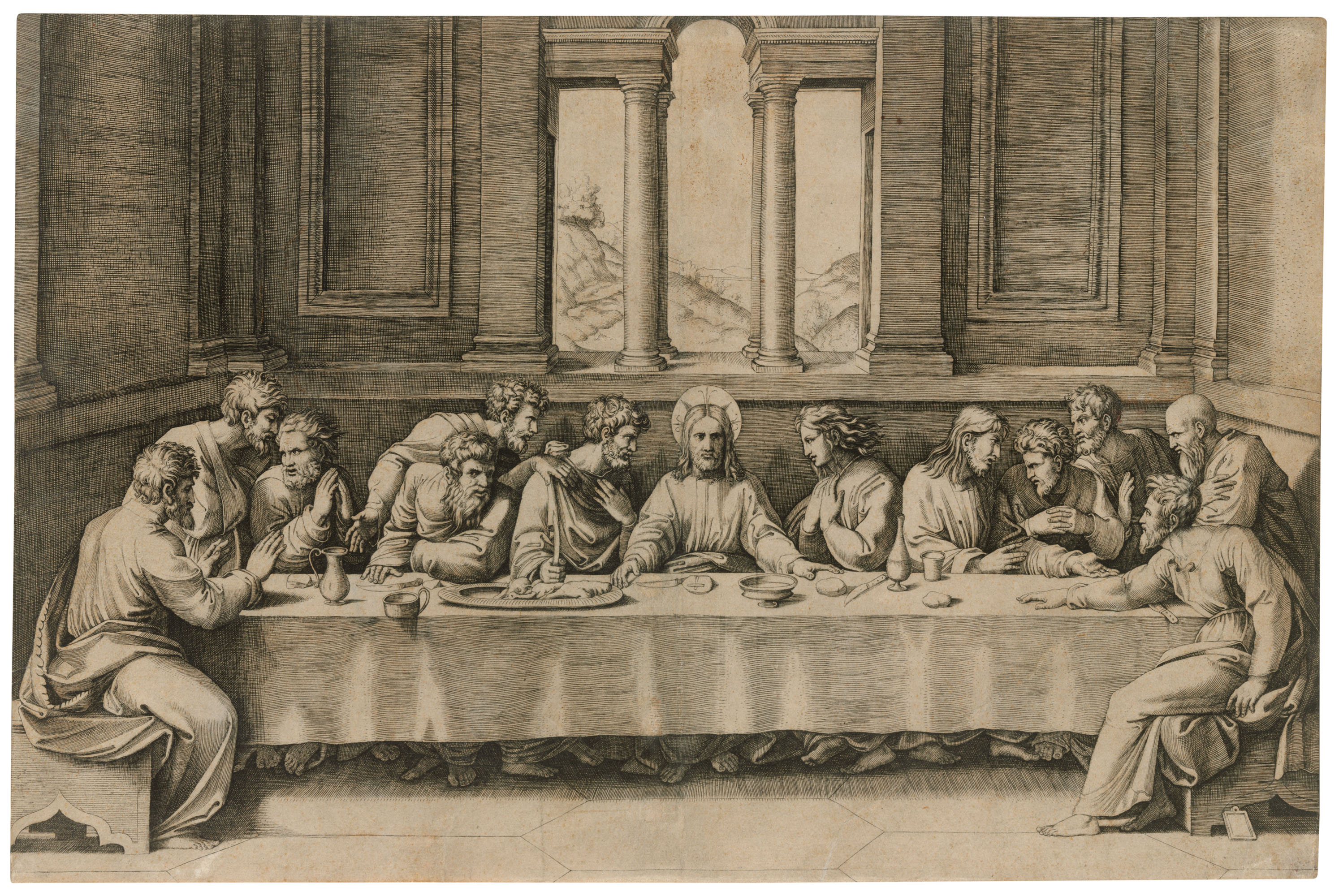 Marcantonio Raimondi (1480-1534) after Raphael (1483-1520), The Last Supper, circa 1515. Engraving on laid paper. Sheet 287 x 434 mm. Sold for £7,500 inOld Master Prints, 19-28 January 2021, Online