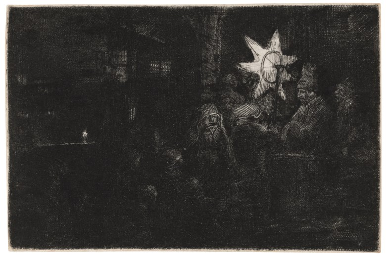 Rembrandt Harmensz. van Rijn (1606-1669), The Star of the Kings A Night Piece, c. 1652. Etching with touches of drypoint, on laid paper. Plate 94 x 142 mm. Sheet 95 x 143 mm. Sold for £68,750 inOld Master Prints, 19-28 January 2021, Online