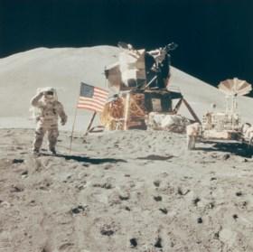 Saluting the flag: Astronaut David Scott performs military s