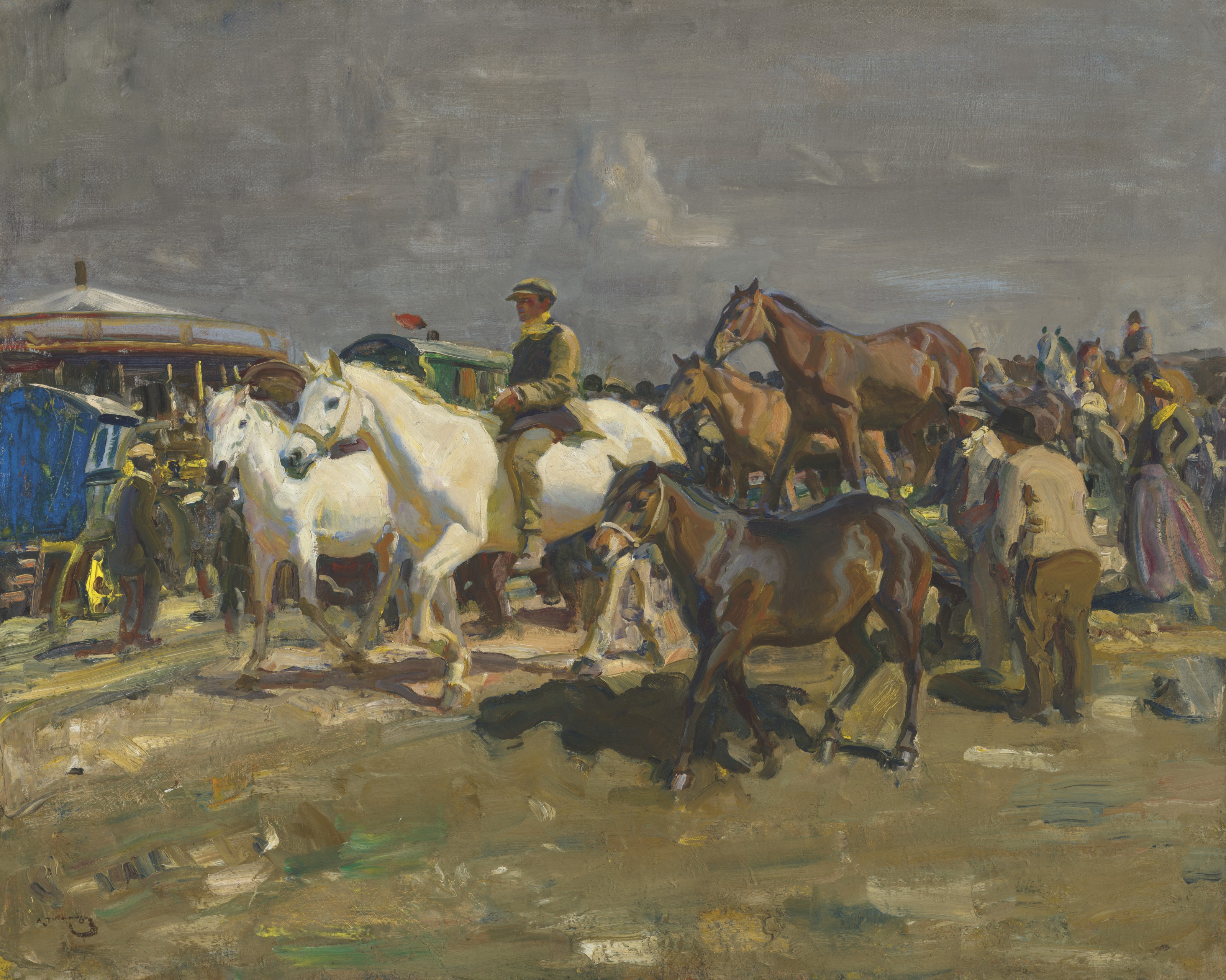 Sir Alfred James Munnings, P.R.A., R.W.S. (1878-1959), The Coming Storm, 1910.Oil on canvas. 40½ x 50  in (102.9 x 127  cm). Estimate £600,000-800,000. Offered in The B.J. Eastwood Collection Important Sporting and Irish Pictures on 9 July 2021 at Christie's in London