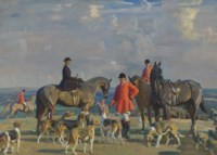 John J. Moubray, Master of Foxhounds, dismounted with his wife and two mounted figures with the Bedale hounds in a landscape