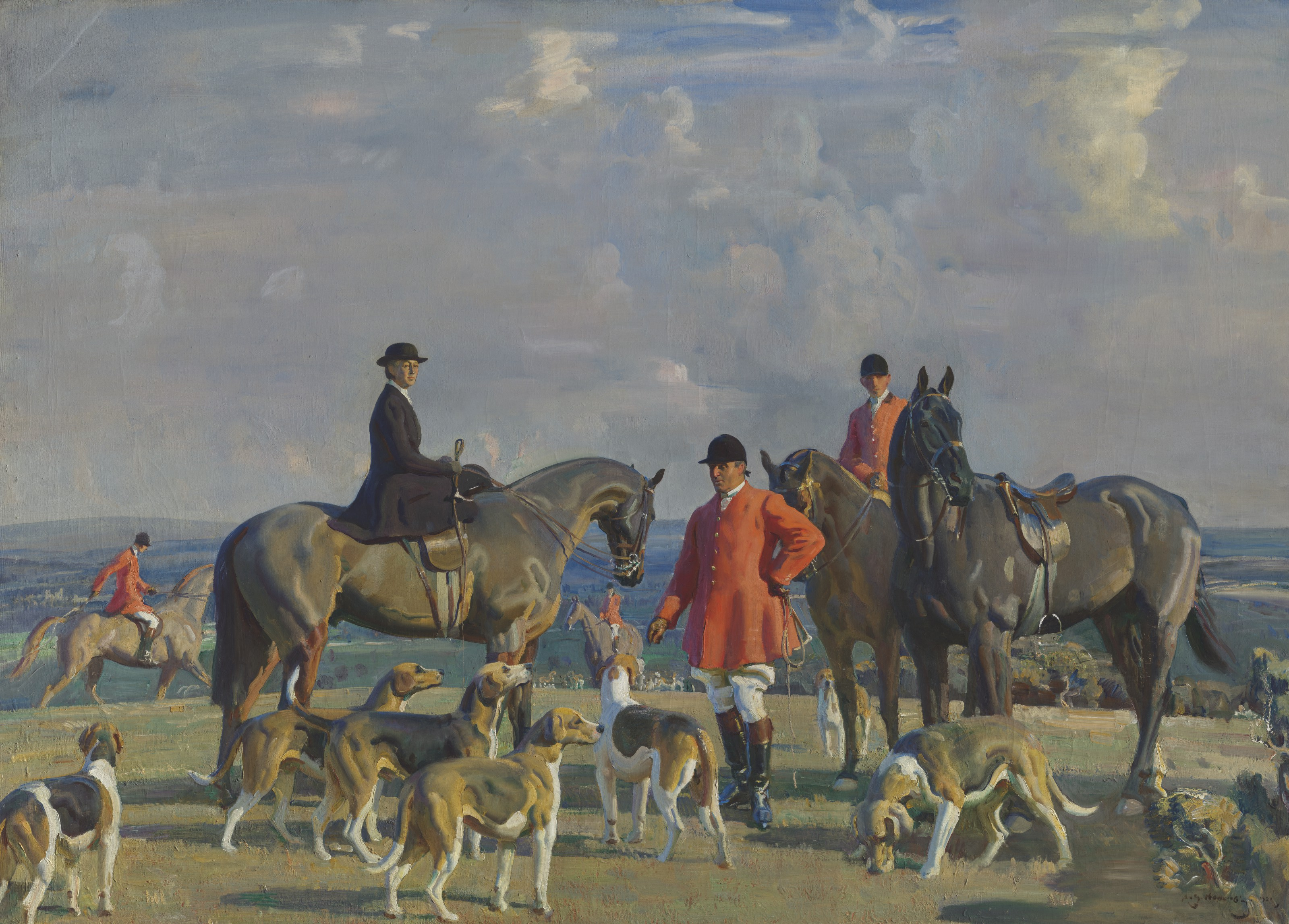 Sir Alfred James Munnings, P.R.A., R.W.S. (1878-1959), John J. Moubray, Master of Foxhounds, Dismounted with his Wife and Two Mounted Figures with the Bedale Hounds in a Landscape, 1920. Oil on canvas. 48¾ x 68⅜  in (123.9 x 173.7  cm). Estimate £400,000-600,000. Offered in The B.J. Eastwood Collection Important Sporting and Irish Pictures on 9 July 2021 at Christie's in London