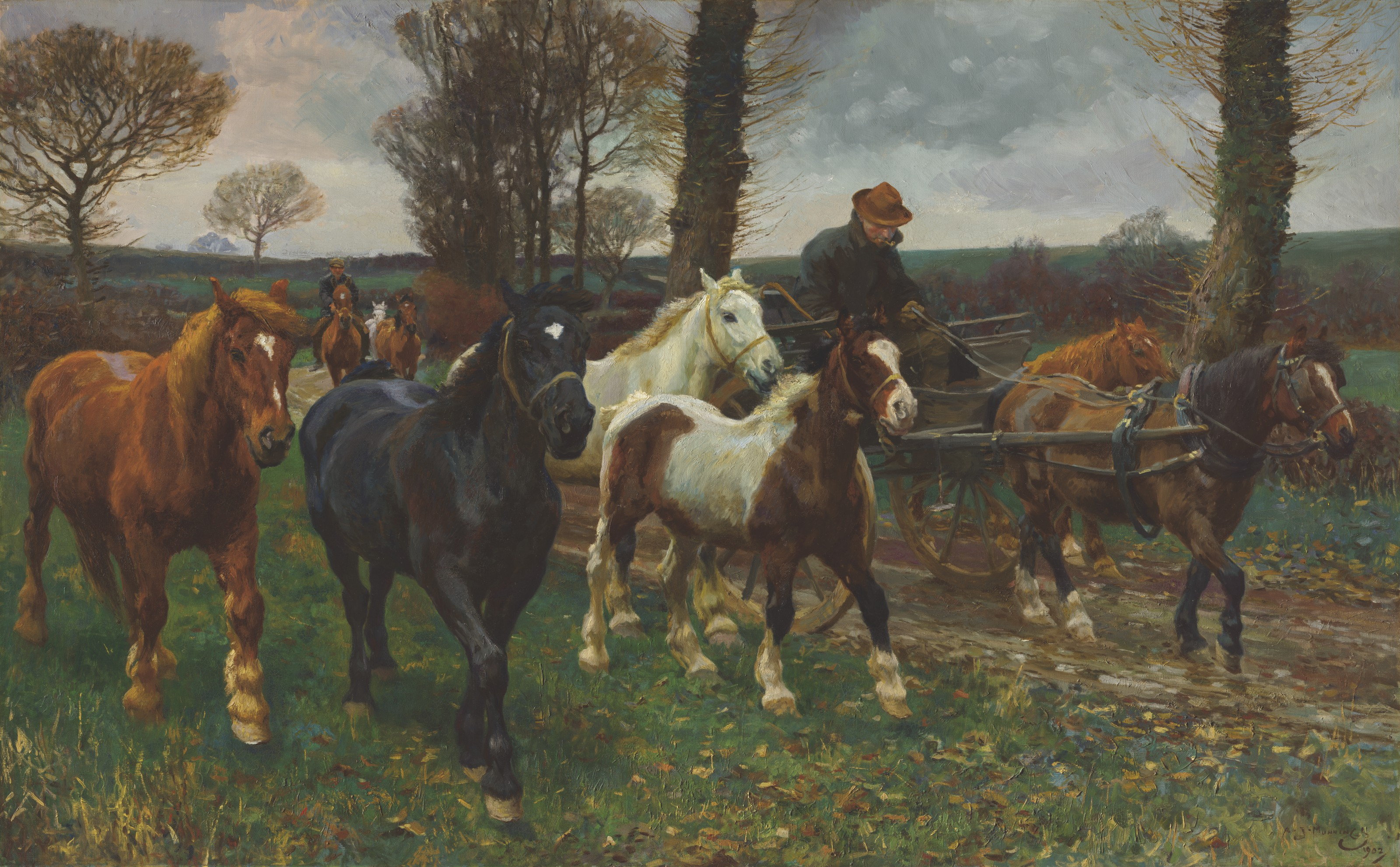 Sir Alfred James Munnings, P.R.A., R.W.S. (1878-1959), The Vagabonds, 1902. Oil on canvas. 50⅜ x 80½  in (128 x 204.5  cm). Estimate £700,000-1,000,000. Offered in The B.J. Eastwood Collection Important Sporting and Irish Pictures on 9 July 2021 at Christie's in London