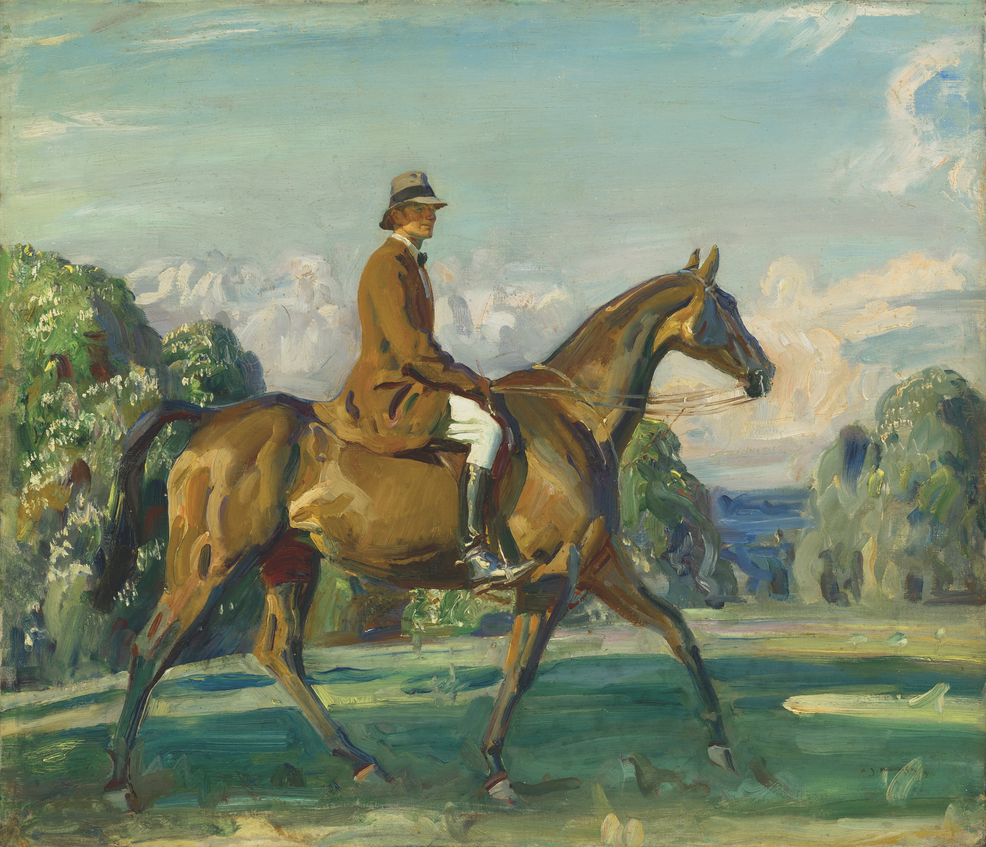 Sir Alfred James Munnings, P.R.A., R.W.S. (1878-1959), Major Mead on his Favourite Hunter, 1921. Oil on canvas. 21 x 25  in (53.4 x 63.5  cm). Estimate £70,000-100,000. Offered in The B.J. Eastwood Collection Important Sporting and Irish Pictures on 9 July 2021 at Christie's in London