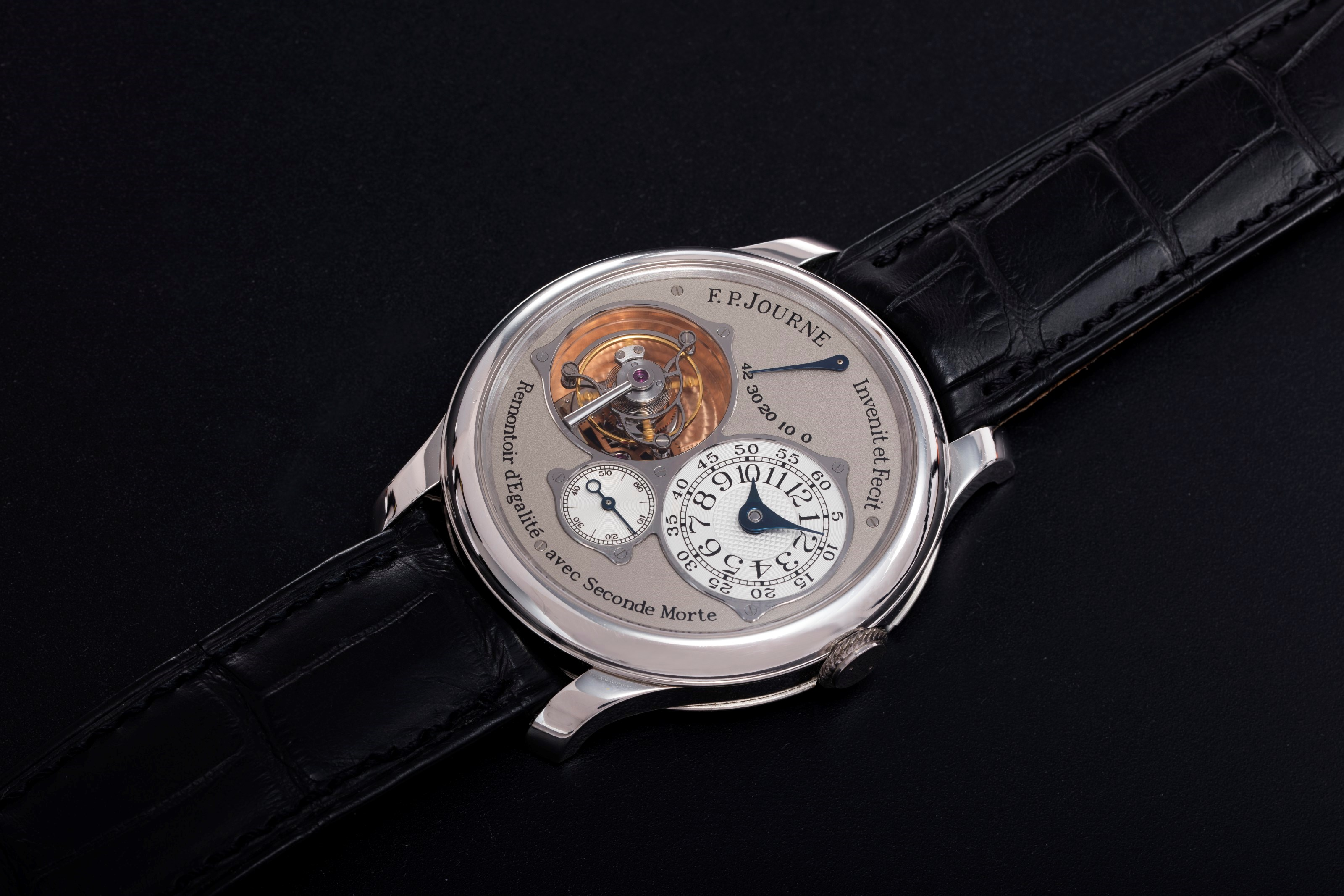 F. P. Journe. A platinum tourbillon souverain with constant force device and dead beat seconds.Diameter 40 mm, comes with F. P. Journe Certificate of Authenticity confirming the sale of this watch in 2004 in Bahrain. Sold for $150,000 on 8 April 2021, Online