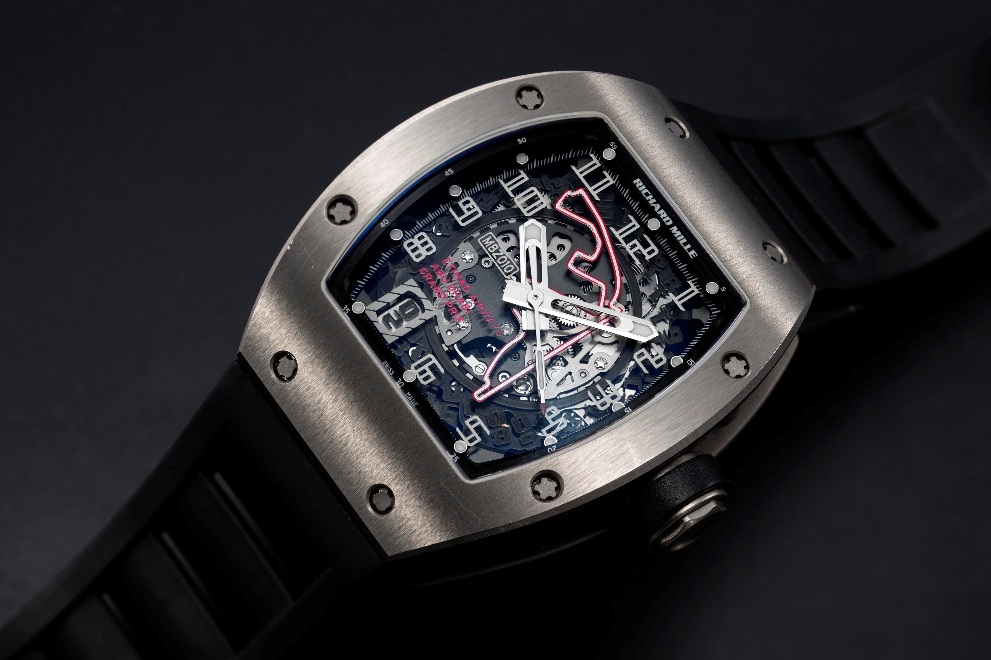 Richard Mille, a titanium RM010 to mark 1st Abu Dhabi F1 Grand Prix, MBZ Limited Edition 081200. Sold for $137,500 on 8 April 2021, Online