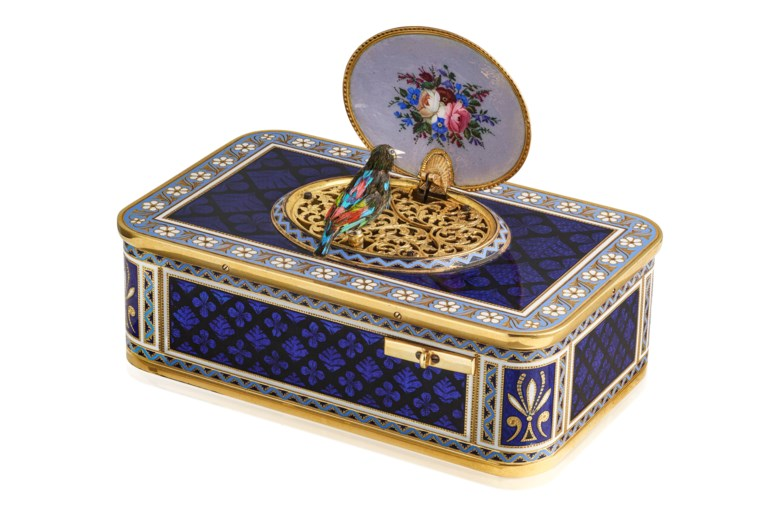Attributed to Charles-Abraham Bruguier the younger, a very fine and rare 18k gold and enamel singing bird box, Geneva, circa 1865. 95.5 mm wide, 60 mm deep, 34.5 mm high. Estimate CHF 75,000-110,000. Offered in Rare Watcheson 10 May 2021 at Christie's in Geneva