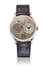 F.P. JOURNE. AN EXTREMELY RARE AND EARLY PLATINUM TOURBILLON WRISTWATCH WITH POWER RESERVE, CONSTANT FORCE REMONTOIR, DEAD BEAT SECONDS, BRASS MOVEMENT, CERTIFICATES AND BOX