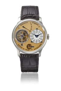 F.P. JOURNE. AN EXTREMELY RARE AND EARLY PLATINUM TOURBILLON WRISTWATCH WITH POWER RESERVE, CONSTANT FORCE REMONTOIR, DEAD BEAT SECONDS, BRASS MOVEMENT, CERTIFICATE AND BOX