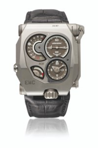 Urwerk. A large, rare and unusual titanium electro-mechanical wristwatch with power reserve, precision indicator, original certificate and box