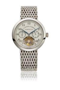 A. LANGE & SÖHNE. AN EXTREMELY RARE PLATINUM LIMITED EDITION TOURBILLON WRISTWATCH WITH CHAIN FUSEE, POWER RESERVE AND BRACELET