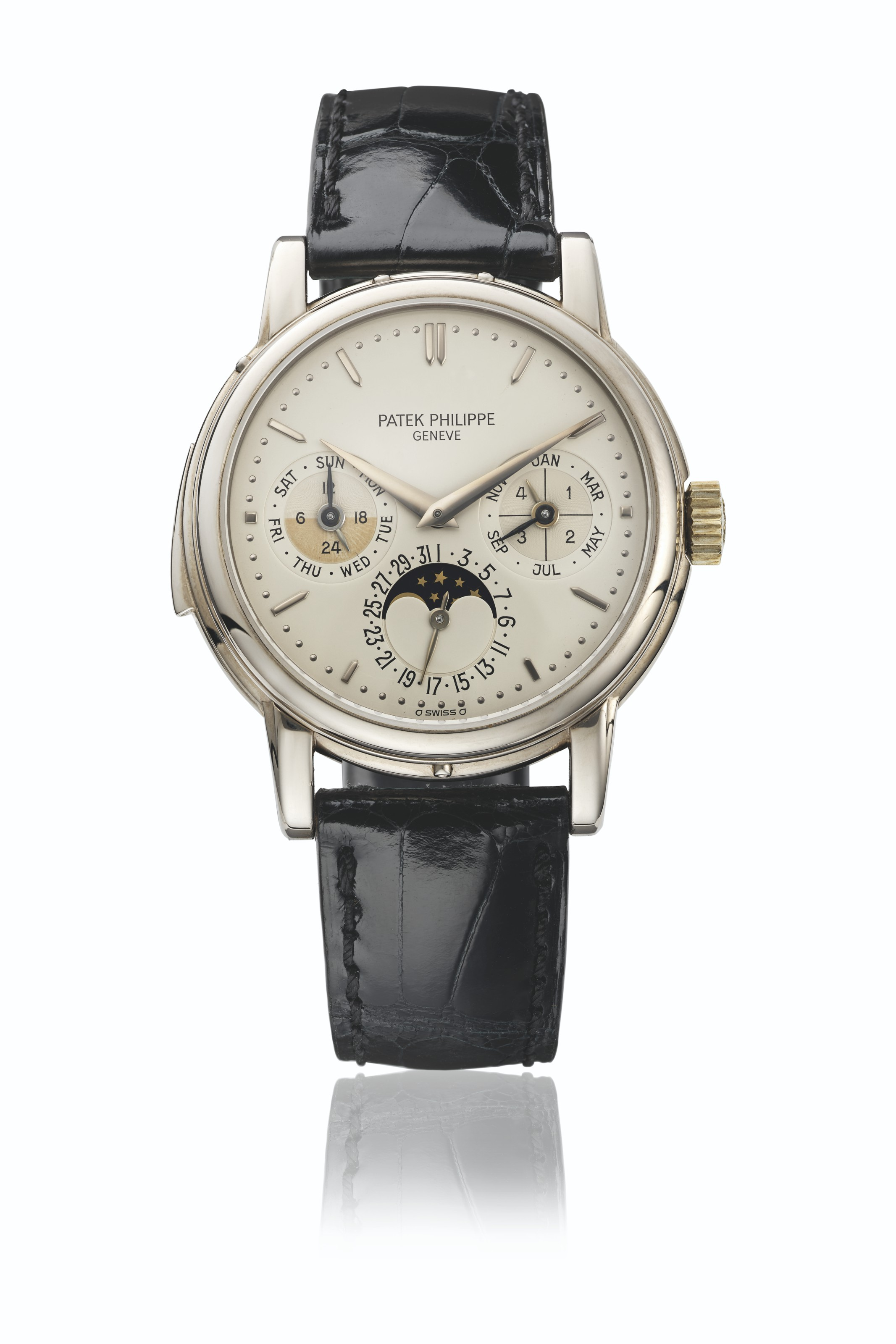 PATEK PHILIPPE. AN EXTREMELY RARE 18K WHITE GOLD AUTOMATIC MINUTE REPEATING PERPETUAL CALENDAR WRISTWATCH WITH MOON PHASES, 24 HOUR, LEAP YEAR, DAY/NIGHT INDICATION AND BOX