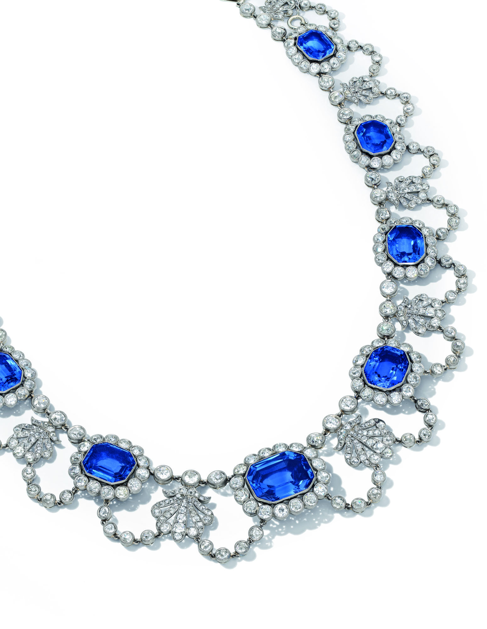 EARLY 19TH CENTURY SAPPHIRE AND DIAMOND NECKLACE