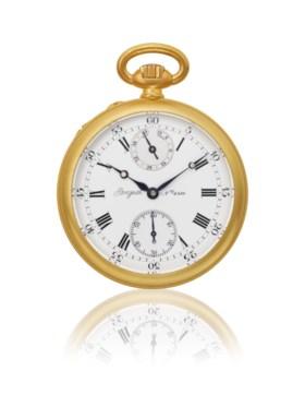 BREGUET, 18K GOLD OPENFACE KEYLESS POCKET CHRONOMETER WITH S