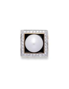 DAVID WEBB CULTURED PEARL, ENAMEL AND DIAMOND RING