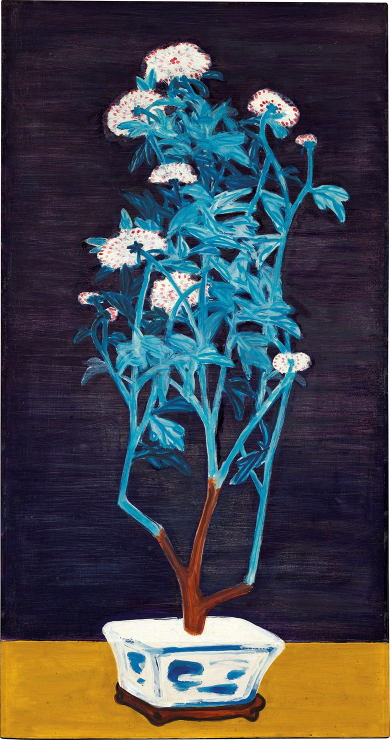 SANYU (CHANG YU, 1895-1966), Potted Chrysanthemums. oil on masonite. 91.5 x 48 cm. (36 x 18 78 in.). Painted circa 1950s. Sold for HK$118,645,000 on 24 May 2021 at 20th and 21st Century Art Evening Sale