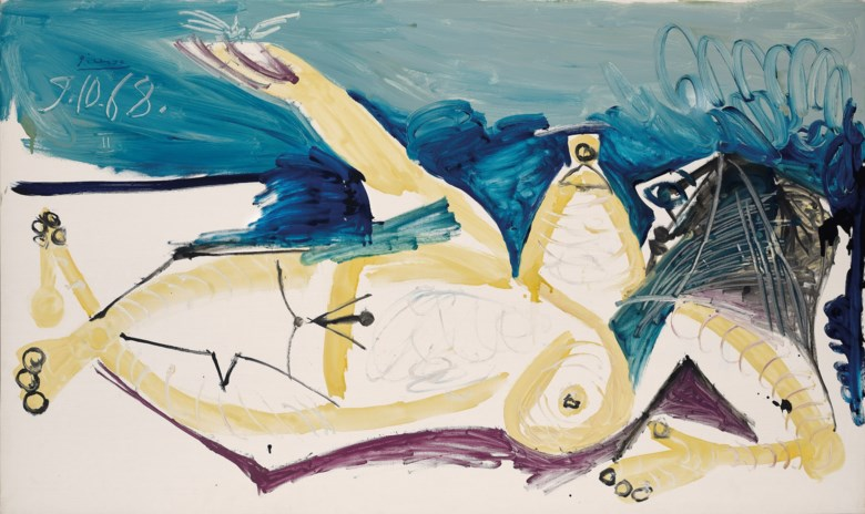 PABLO PICASSO (1881 - 1973), Nu couché à la libellule. oil on canvas. 97 x 162 cm. (38 18 x 63 34 in.). Painted on 9 October 1968. Sold for HK$62,540,000 on 24 May 2021 at 20th and 21st Century Art Evening Sale