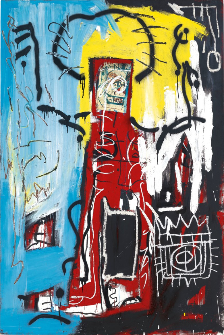 JEAN-MICHEL BASQUIAT (1960-1988), Untitled (One Eyed Man or Xerox Face). acrylic, spray paint, oilstick and Xerox collage on panel. 182.9 x 121.9 cm. (72 x 48 in.). Painted in 1982. New Price Benchmark Set For Jean-Michel Basquiat In Asia. Sold for HK$234,290,000 on 24 May 2021 at 20th and 21st Century Art Evening Sale
